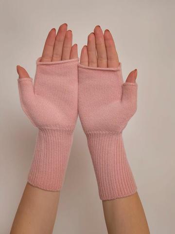 Женские митенки светло-розового цвета из 100% кашемира - фото 4