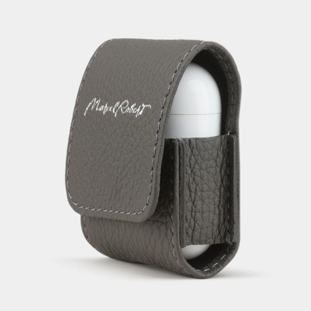 Чехол-держатель для наушников Petit Easy из натуральной кожи теленка, серого цвета