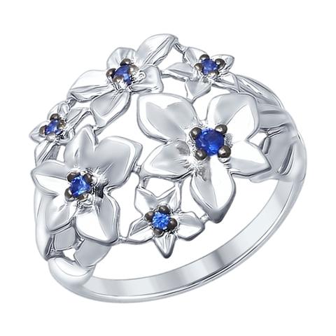 94012340- Кольцо из серебра с синими фианитами от SOKOLOV