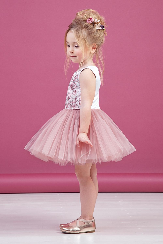 Платье пудровое для девочки 38-9011-1