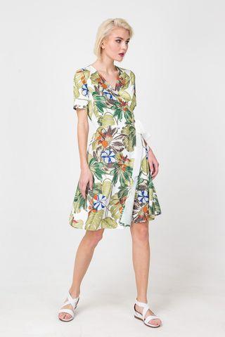 Фото летнее платье на запах с коротким рукавом и растительным принтом - Платье З369-435 (1)
