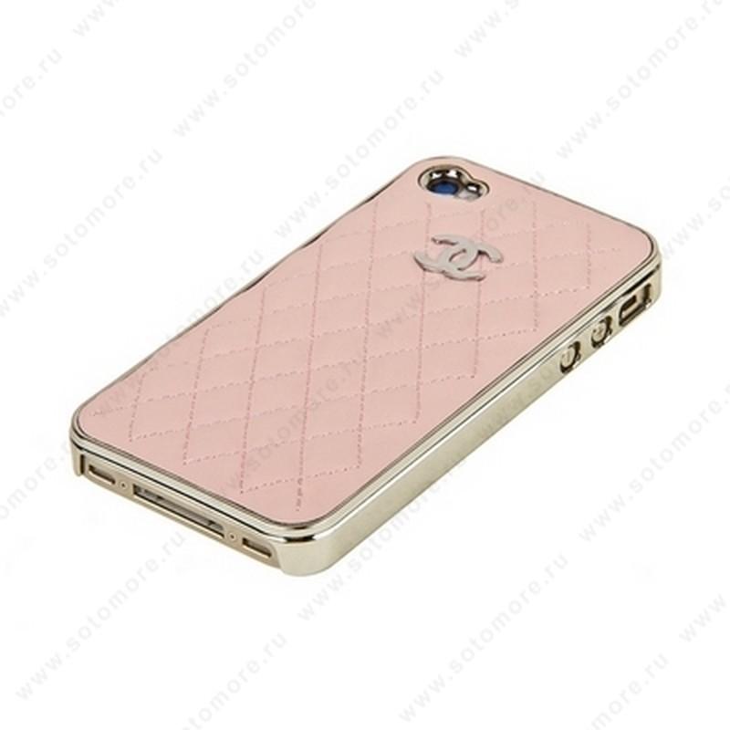 Накладка CHANEL для iPhone 4s/ 4 серебряная+светло-розовая кожа