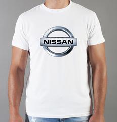 Футболка с принтом Ниссан (Nissan) белая 001