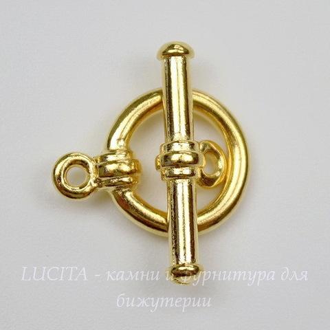 Замок - тоггл из 2х частей TierraCast 16х12 мм, 19х7 мм (цвет-золото)