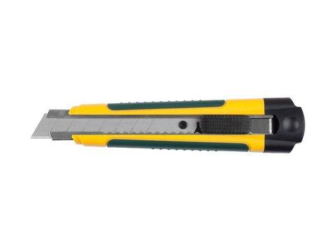 Нож с сегментированным лезвием, KRAFTOOL 09199, двухкомп корпус, автостоп, отсек для хранения запасных лезвий, 18мм