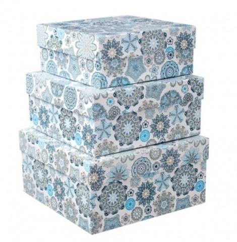 Набор коробок подарочных квадратных Снежинки из 3шт, размер: 19х19х9,5 см, белый/голубой