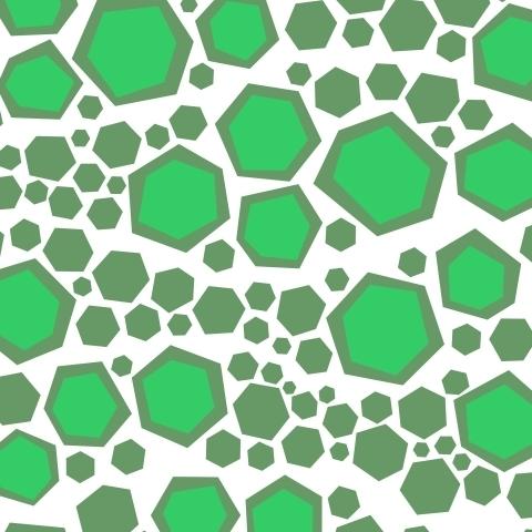 Зелёные шестиугольники на белой ткани
