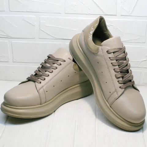Модные кроссовки кожаные. Спортивные туфли сникерсы женские Markos- AllBeige.