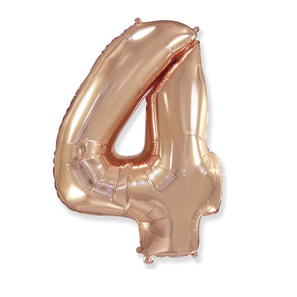 Фольгированная цифра 4, розовое золото