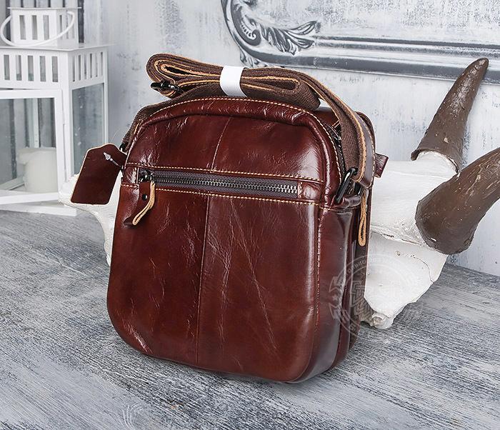 BAG402-2 Мужская городская сумка из натуральной кожи с ремнем на плечо фото 03