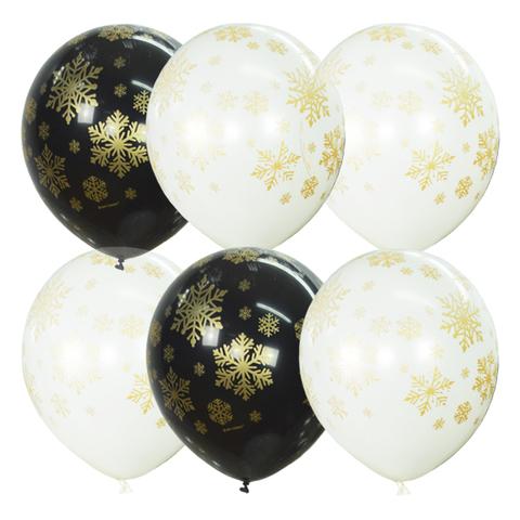 Воздушные шары снежинки золотые