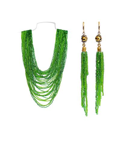 Комплект из зеленого бисера (серьги и колье) №3