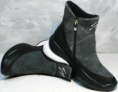 Полусапоги зимние женские Jina 7195 Leather Black-Gray