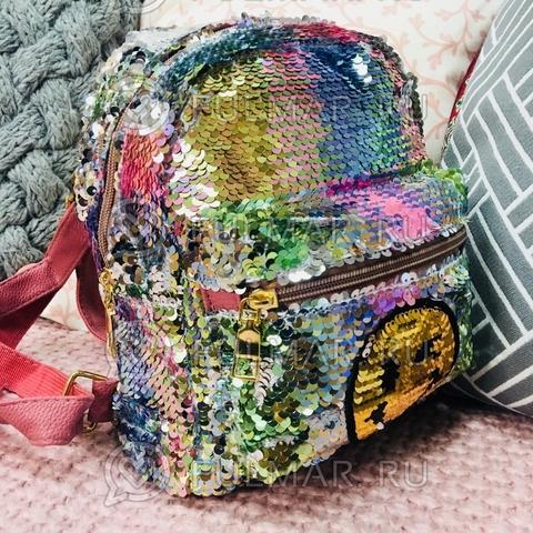 Рюкзак с двусторонними пайетками нашивкой Смайлик меняет цвет Радужный-Серебристый