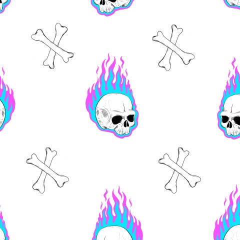 Черепа и пламя на белом фоне