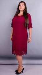 Ажур. Красивое платье size plus. Бордо.