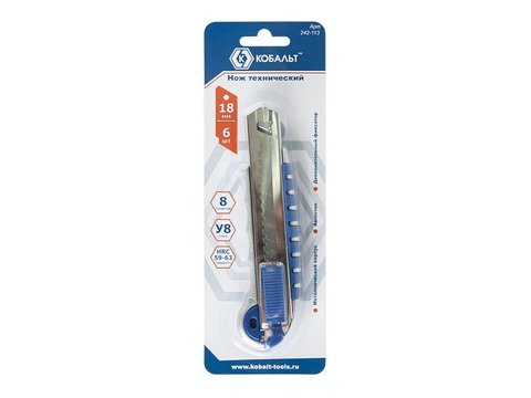 Нож технический КОБАЛЬТ лезвия 18 мм (6 шт.), металлический корпус, автостоп, доп. фиксато (242-113)