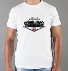 Футболка с принтом Кадиллак (Cadillac) белая 0011
