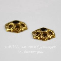 Винтажный декоративный элемент - шапочка 8х2 мм (оксид латуни)