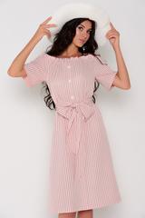 <p>Модное платье со спущенной линией плеча, на резинке. По переду имитация планки с пуговицами. Платье свободного кроя. Пояс съемный в виде банта. Длина: 44-50р - 100см</p>
