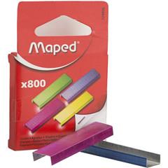 Скобы для степлера №26/6 Maped цветные (800 штук в упаковке)