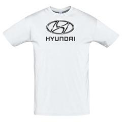 Футболка с принтом Хёндай (Hyundai) белая