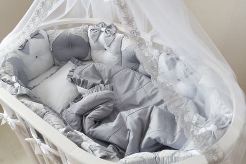 Комплект в круглую/овальную кроватки Gray
