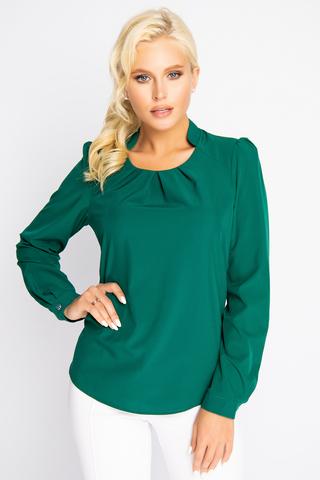 <p>Респектабельная блузка обеспечит Вам потрясающий успех! Модный фасон горловины украшен встречными складками.</p>