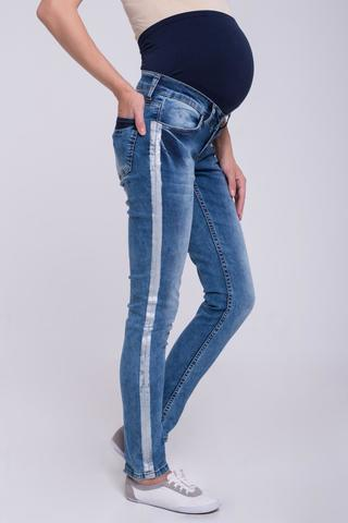Узкие эластичные джинсы для беременных цвет голубой