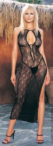 Длинное ажурное платье и стринги