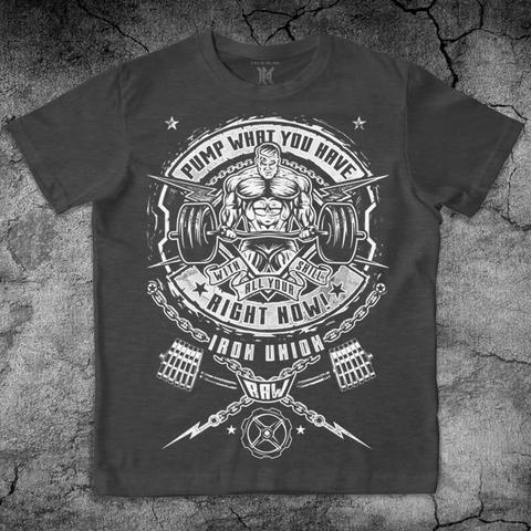 Купить хлопковую футболку Iron Union цвет серый для пауэрлифтинга, для зала, фитнеса, стиль жизни