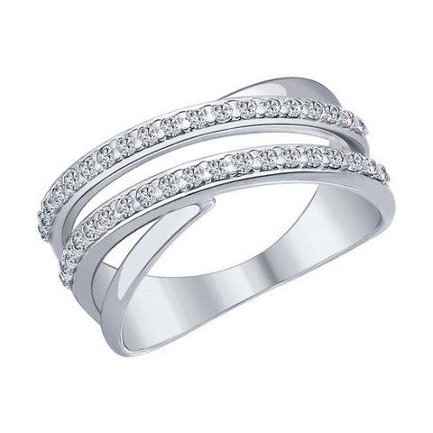 94012043- Кольцо из серебра с дорожками из фианитов