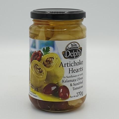Артишоки в подсолнечном масле с сушеными томатами и маслинами Каламата DELPHI, 270 гр