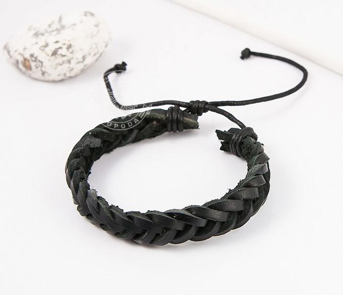 SL0135-K Мужской плетеный браслет из черной натуральной кожи, «Spikes» фото 03