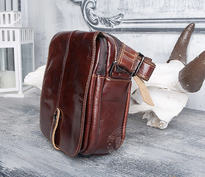 BAG402-2 Мужская городская сумка из натуральной кожи с ремнем на плечо фото 04