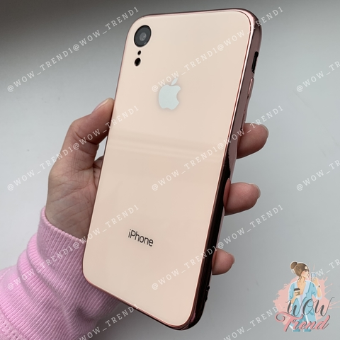 Чехол iPhone XR Glass Case Logo /rose gold/