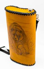 Фляга «Медведь», натуральная кожа с художественным выжиганием, 2 л, фото 3