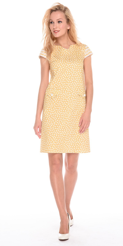 Платье З200а-543 - Ретро-платье из хлопка с оригинальной отделкой карманов и рукавов. Платье выполнено из натуральной ткани, которая позволяет телу дышать. Мелкий принт делает модель романтичной и стильной.