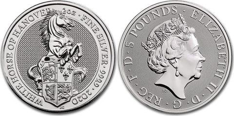 5 фунтов. Мистические звери Королевы — Белая лошадь Ганновера. Великобритания. 2020 год