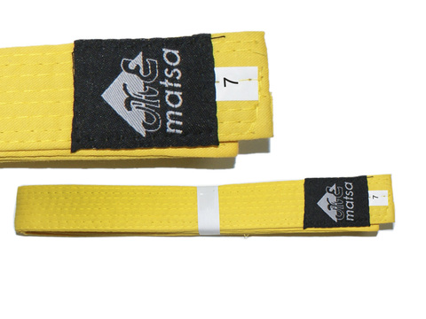 Пояс карате. Материал:  хлопок. Цвет жёлтый. Длина 3,05 м (7).
