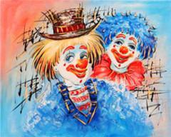 Картина раскраска по номерам 40x50 Пара разноцветных клоунов
