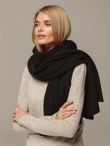 Женский шарф черного цвета из 100% кашемира - фото 4