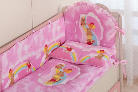 Комплект в кроватку для новорожденного «Мишки на радуге»
