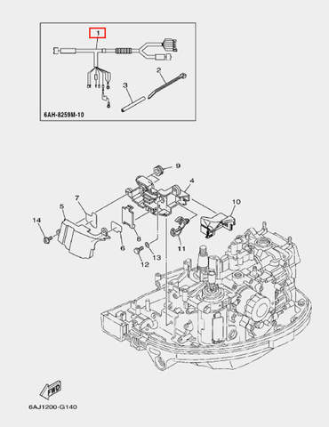 Жгут проводов (электрозапуск) для лодочного мотора F20 Sea-PRO (14-1)