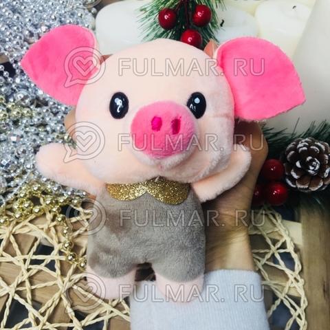 Поросёнок брелок Хрюня Ушастик золотистый воротничок символ 2019 года свинья (серый)