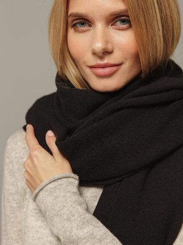 Женский шарф черного цвета из 100% кашемира - фото 3