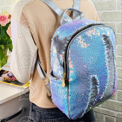 Рюкзак в пайетках с боковыми карманами меняет цвет Хамелеон Перламутровый-Зеркальный