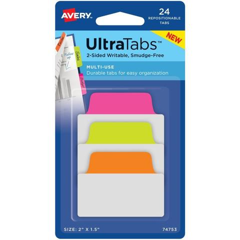 Закладки Avery Multiuse Two-Side Writable Ultra Tabs -Neon - 72 шт