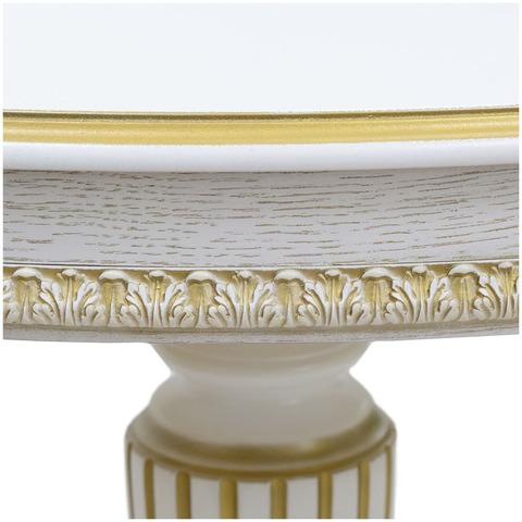 Стол ЭДЕЛЬВЕЙС К 1000 Тон 1 с золотой патиной / вид шпона дуб / тип рис. для дуг / подстолье Люкс / 112(152)х90см