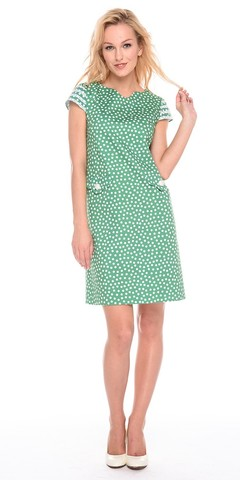 Фото зеленое платье прямого силуэта в горошек на молнии - Платье З200а-564 (1)